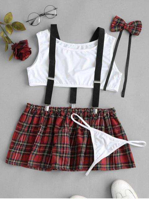 trendy Plaid Suspender Lingerie Student Costume Set - DEEP RED M Mobile