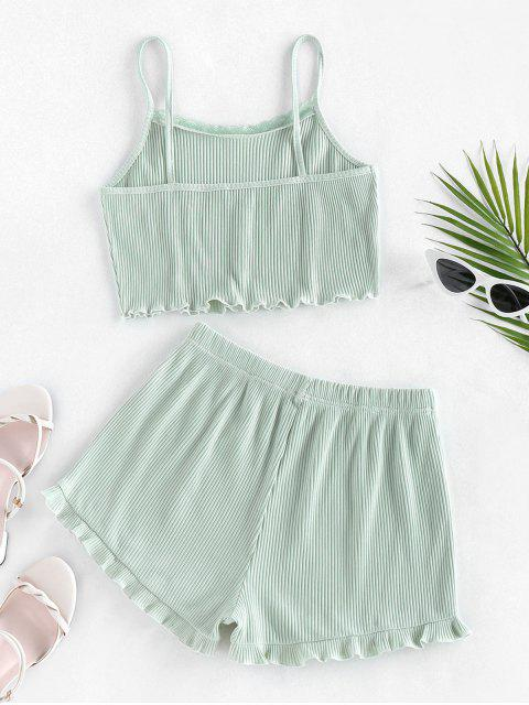 fashion ZAFUL Ribbed Lettuce Trim Two Piece Shorts Set - LIGHT GREEN M Mobile