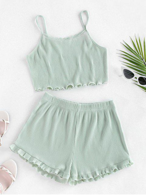 new ZAFUL Ribbed Lettuce Trim Two Piece Shorts Set - LIGHT GREEN XL Mobile