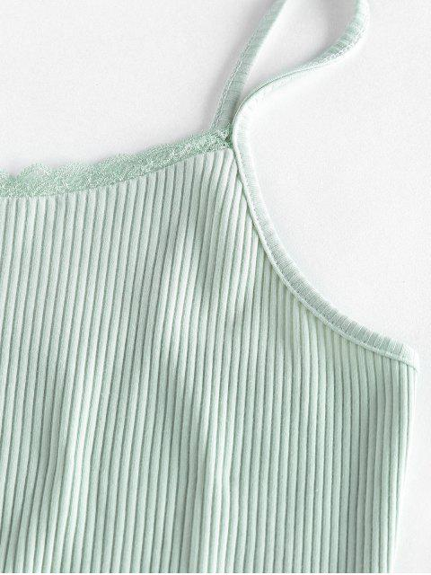 trendy ZAFUL Ribbed Lettuce Trim Two Piece Shorts Set - LIGHT GREEN S Mobile