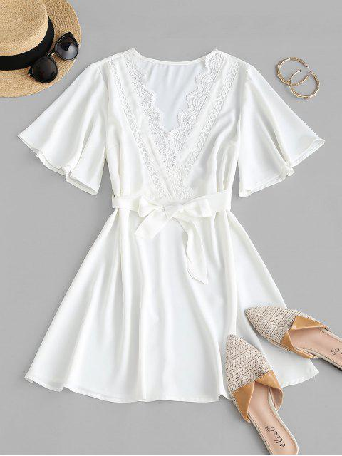 womens Guipure Lace Surplice Flutter Sleeve Belted Dress - WHITE S Mobile