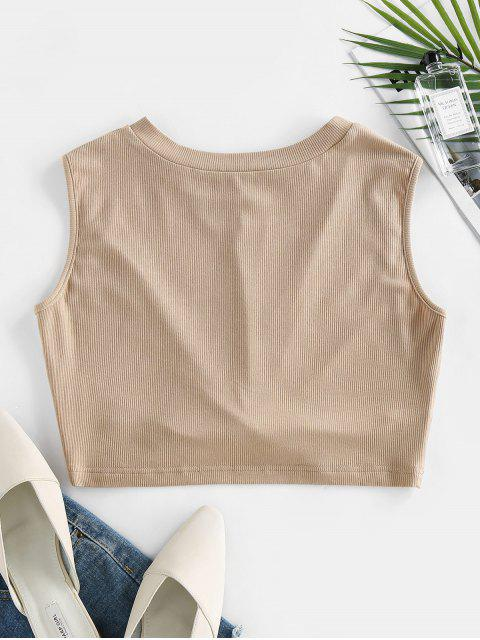 buy ZAFUL Ribbed Twisted Crop Tank Top - LIGHT COFFEE XL Mobile