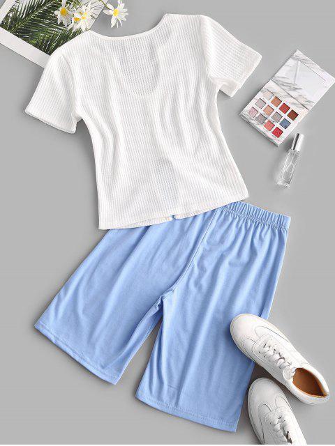 Conjunto de Biker Shorts Entalhado de Bloco de Cores - Azul claro L Mobile