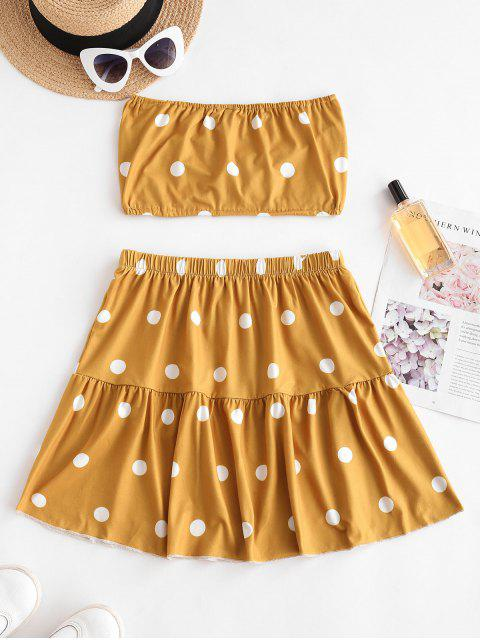 fancy Polka Dot Ruched Strapless Tiered Skirt Set - YELLOW S Mobile