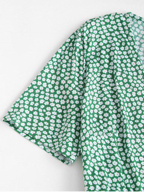 fancy Ditsy Floral A Line Wrap Dress - LIGHT GREEN M Mobile