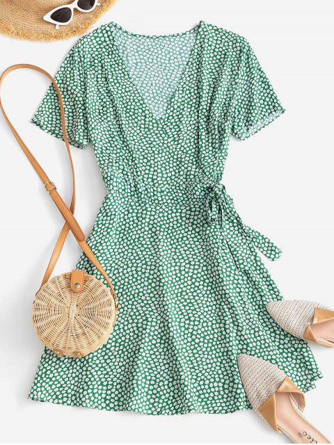 lady Ditsy Floral A Line Wrap Dress - LIGHT GREEN S Mobile