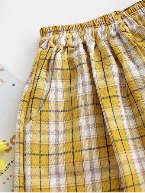 new Plaid Slant Pockets Bermuda Shorts - GOLDENROD M Mobile