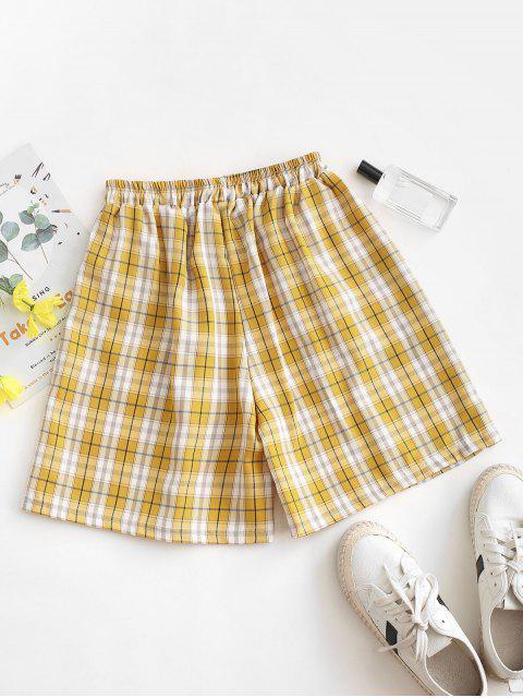 womens Plaid Slant Pockets Bermuda Shorts - GOLDENROD S Mobile