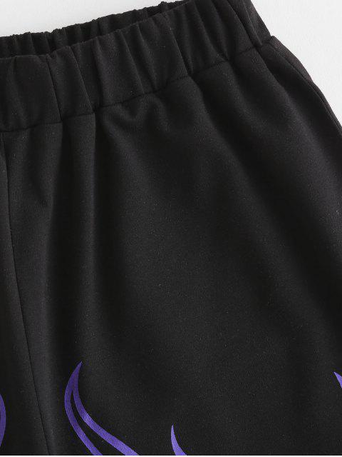 Pantaloncini a Vita Alta con Stampa Fuoco - Nero S Mobile