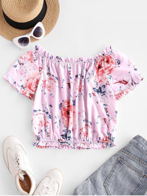 fancy Flower Print Ruffle Off Shoulder Blouse - LIGHT PURPLE M Mobile