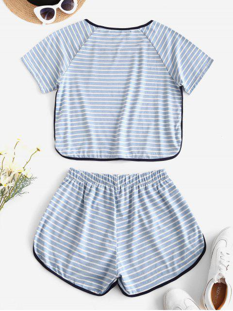 best Lounge Striped High Waisted Ringer Shorts Set - LIGHT BLUE S Mobile