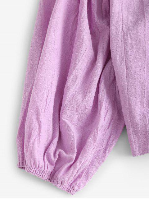 affordable Solid Tie Front Cropped Blouse - LIGHT PURPLE L Mobile