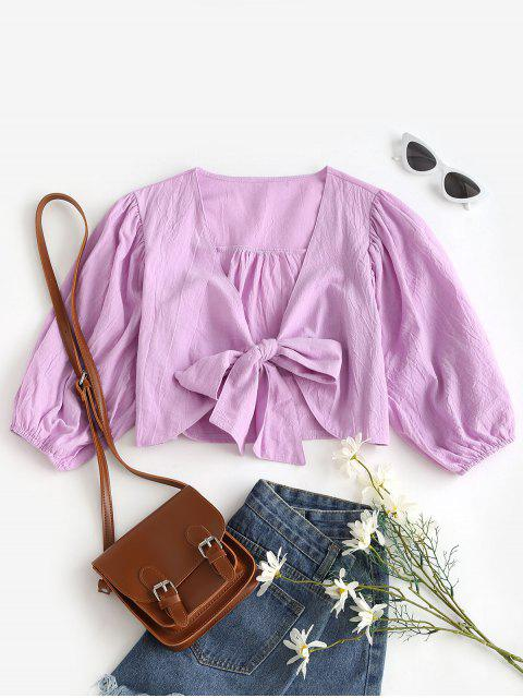 outfits Solid Tie Front Cropped Blouse - LIGHT PURPLE S Mobile