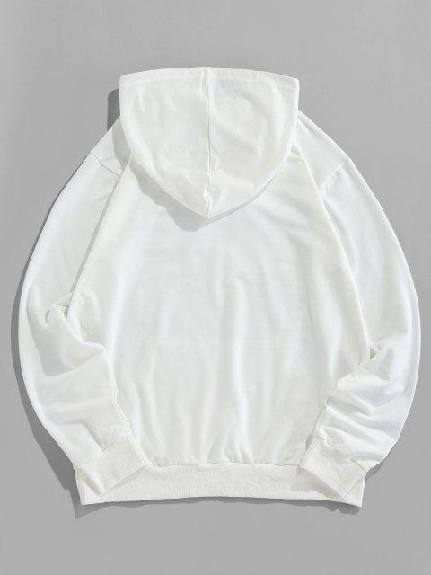ZAFUL Rose Grafik Beutel Taschen Kapuze Hoodie - Weiß 2XL Mobile