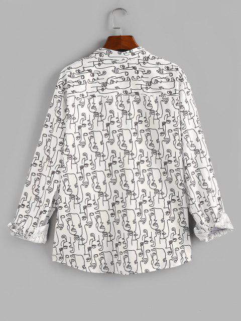 fancy ZAFUL Abstract Face Print Pocket Button Up Shirt - WHITE S Mobile