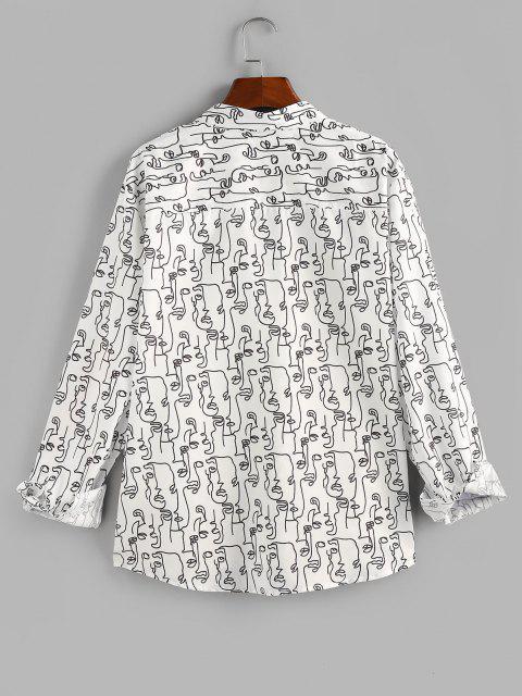 ZAFUL抽象顔プリントポケットボタン付きシャツ - 白 2XL Mobile