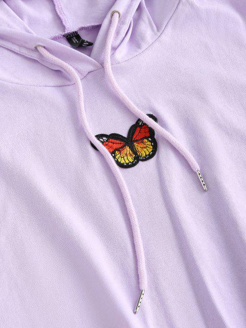 hot Lounge Drawstring Butterfly Patched Two Piece Set - LIGHT PURPLE L Mobile