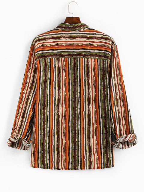 womens ZAFUL Vertical Striped Pocket Button Up High Low Shirt - MULTI S Mobile