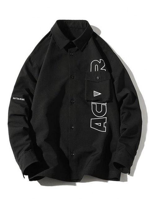Veste Chemise Lettre Imprimée avec Poche à Rabat - Noir XL Mobile