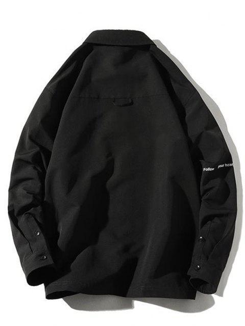 Veste Chemise Lettre Imprimée avec Poche à Rabat - Noir 3XL Mobile