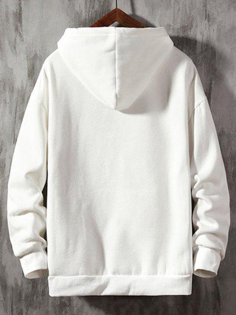 Buchstabe Grafik Druck Hängender Schulter Hoodie - Weiß XL Mobile