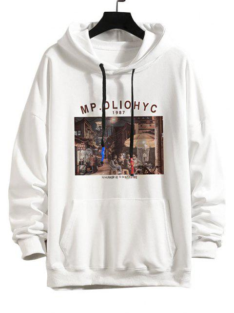 outfit Letter Graphic Drop Shoulder Hoodie - WHITE M Mobile