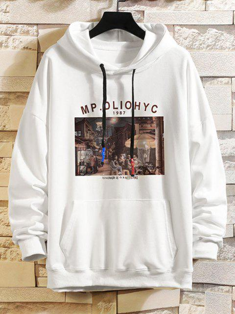 shop Letter Graphic Drop Shoulder Hoodie - WHITE XL Mobile