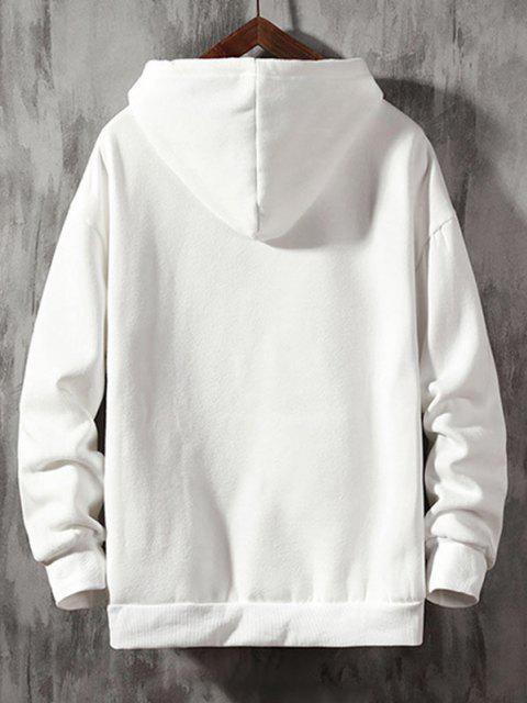 Buchstabe Grafik Hängender Schulter Hoodie - Weiß XL Mobile