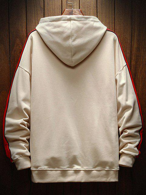 shops Color Blocking Graphic Drop Shoulder Hoodie - KHAKI S Mobile