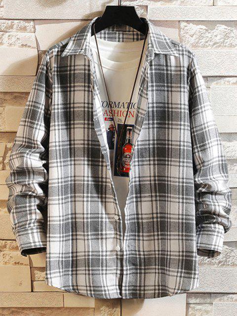 fancy Plaid Button Down Long Sleeve Shirt - WHITE 2XL Mobile