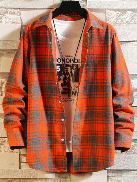 womens Plaid Button Down Long Sleeve Shirt - PUMPKIN ORANGE 2XL Mobile