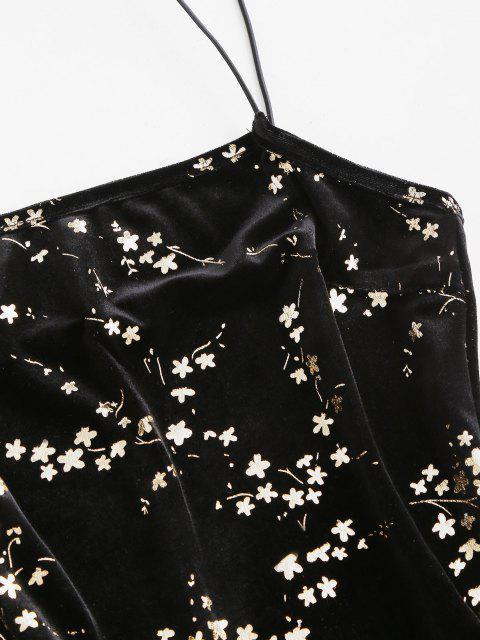 ladies ZAFUL Velvet Sparkly Flower Bodycon Dress - BLACK S Mobile