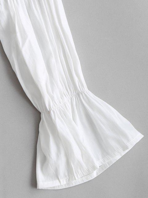 affordable Ruffle Cuff Frilled Plunge Blouse - WHITE L Mobile