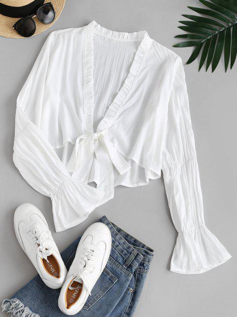 lady Ruffle Cuff Frilled Plunge Blouse - WHITE XL Mobile