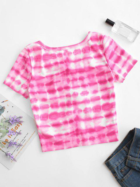 women's Ties Ribbed Tie Dye Cropped Tee - HOT PINK S Mobile