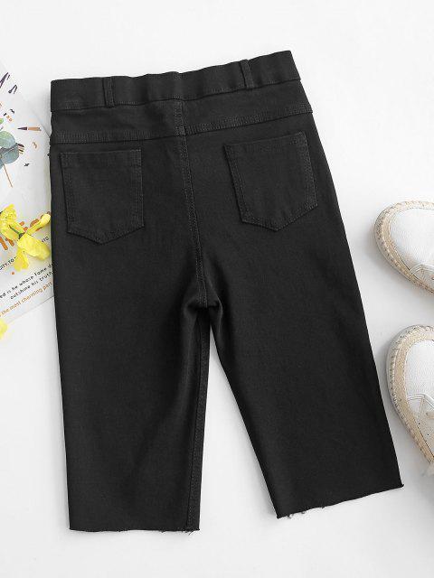 ladies Ripped Frayed Hem Denim Bermuda Shorts - BLACK M Mobile