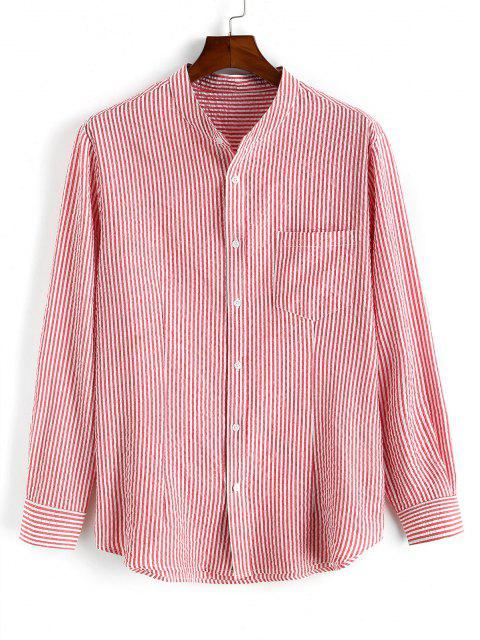 women Pocket Patch Stripes High Low Shirt - LIGHT PINK L Mobile
