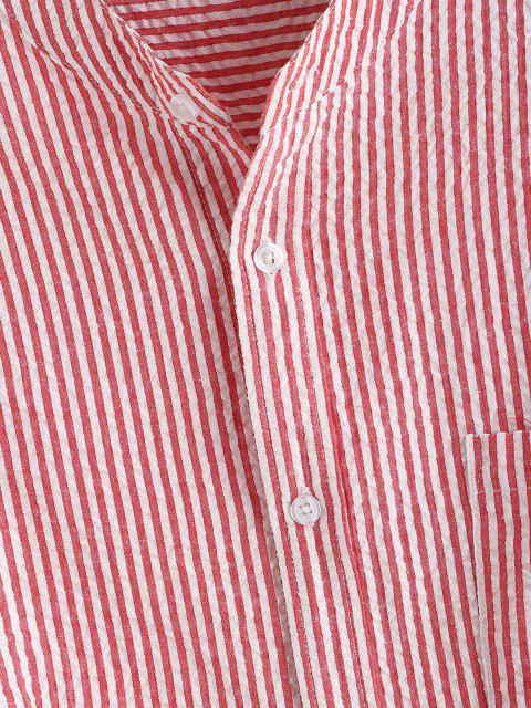 ポケットパッチストライプ高低シャツ - ライトピンク 3XL Mobile