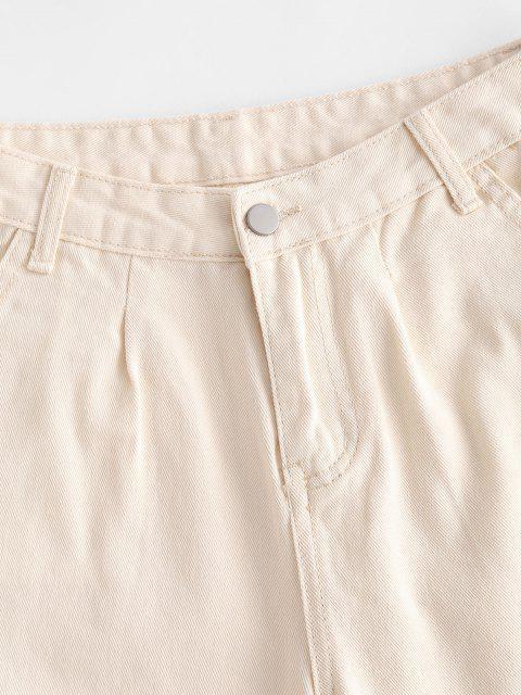 Short à Taille Haute avec Poche en Denim - Jaune clair L Mobile