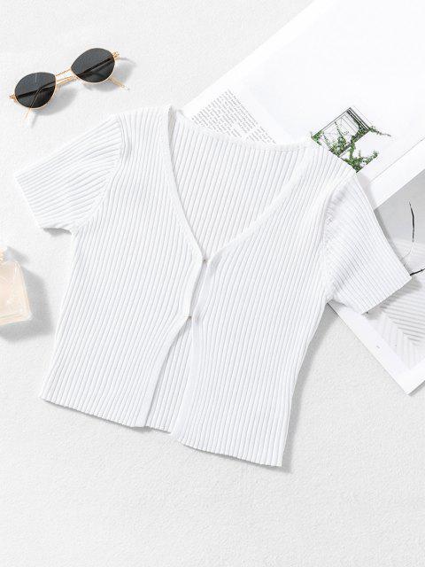 Tricot Court CôteléauCrochet - Blanc de Crème  S Mobile