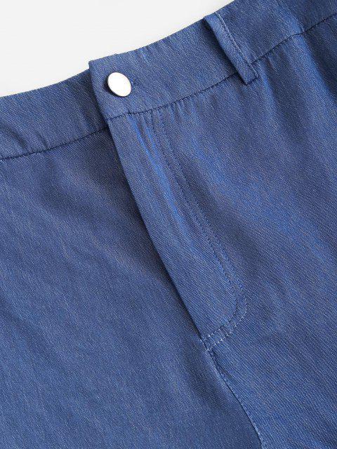 lady ZAFUL Chambray Sunflower Pocket Zip Fly Shorts - LIGHT BLUE XL Mobile
