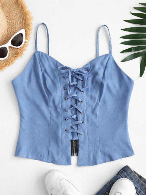 unique ZAFUL Chambray Lace-up Zip Crop Cami Top - LIGHT BLUE L Mobile
