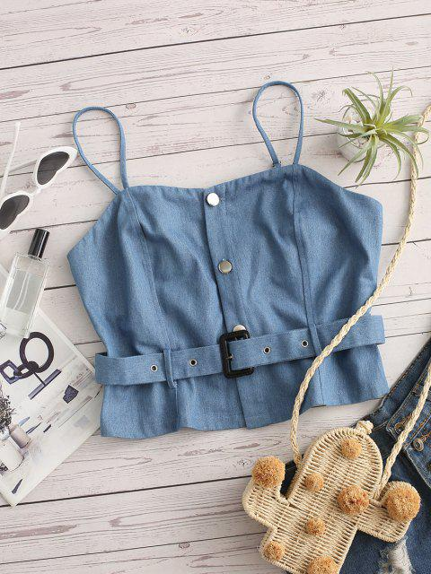 Denim Crop Gurt Cami Top - Hellblau S Mobile