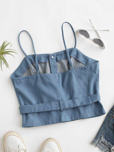 fashion Denim Crop Belted Cami Top - LIGHT BLUE XL Mobile