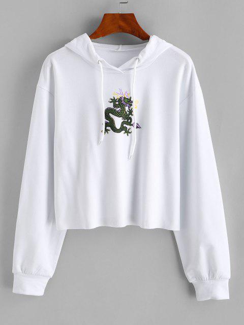 Dragon Print Oriental Drop Shoulder Raw Hem Hoodie - أبيض S Mobile