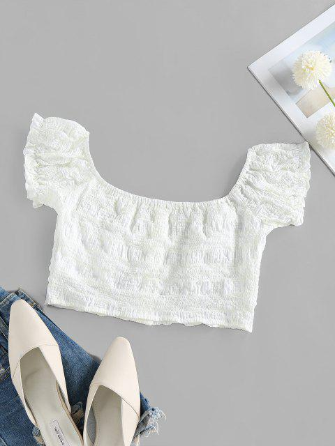 affordable ZAFUL Crinkle Plaid Ruffle Bustier Blouse - WHITE S Mobile