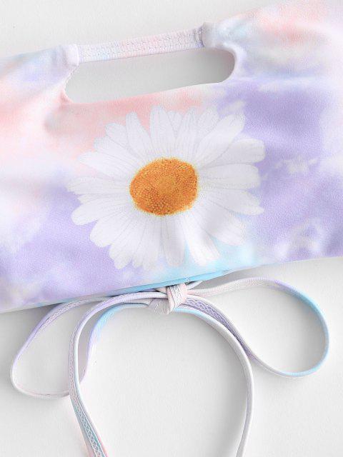 ZAFUL Gebundener Daisy Krawattenfärbende Bikini Badebekleidung mit Schnürung - Multi S Mobile