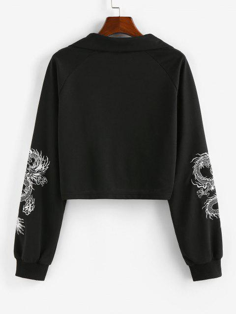 best ZAFUL Oriental Dragon Embroidered Sweatshirt - BLACK S Mobile