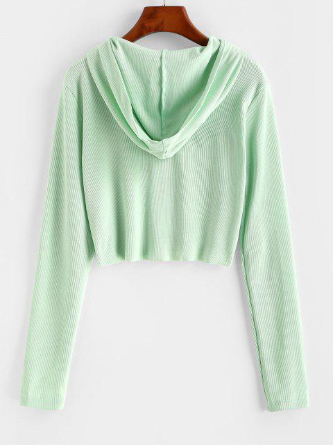 ladies Ribbed Raw Hem Full Zip Hoodie - LIGHT GREEN XL Mobile