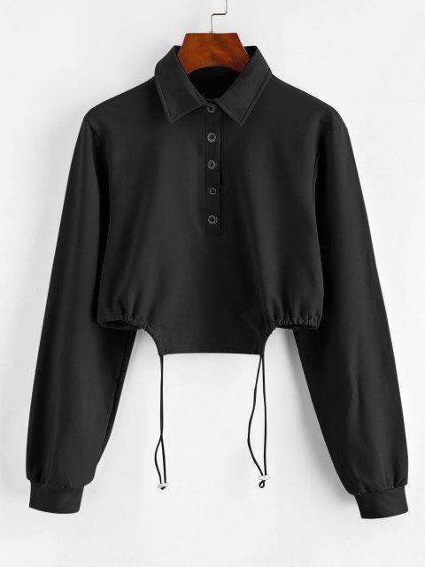 Half Button Toggle Drawstring Hem Cropped Sweatshirt - أسود M Mobile